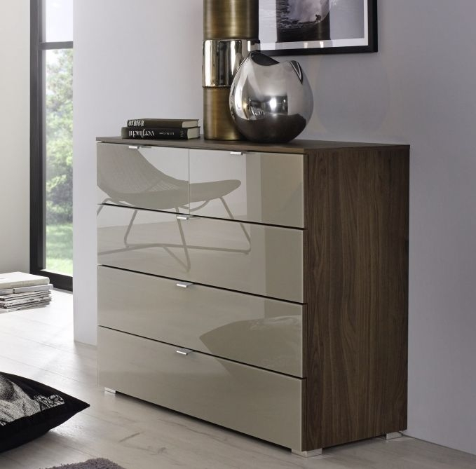 Rauch Erimo Royal Walnut with Fango Glass Bedside Cabinet - 3 Drawer