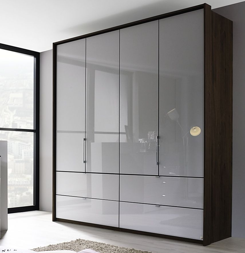 Rauch Erimo 4 Door 4 Drawer Glass Combi Wardrobe in Royal Walnut and Silk Grey - W 207cm