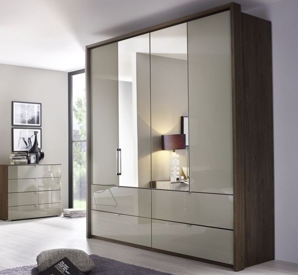 Rauch Erimo Royal Walnut with Fango Glass 4 Door 2 Drawer Wardrobe with 2 Mirror - W 207cm