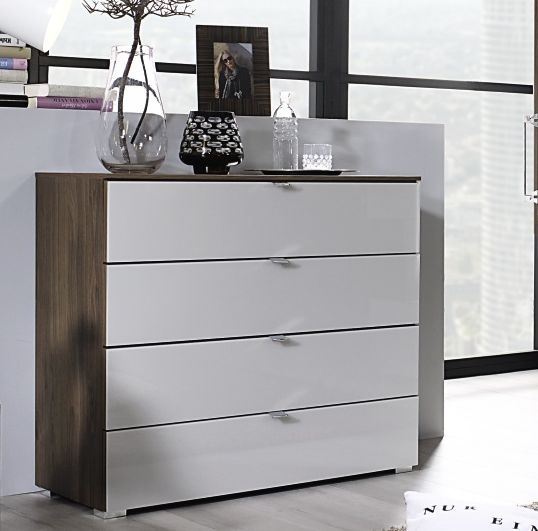 Rauch Erimo 3+2 Drawer Glass Chest in Royal Walnut and Silk Grey