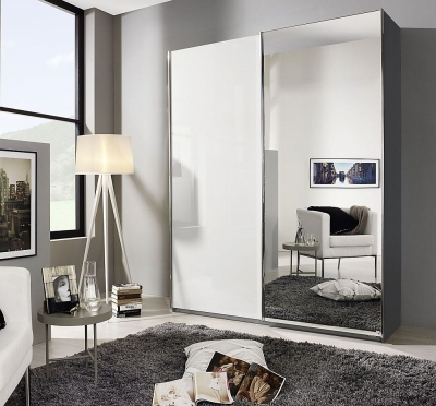 Rauch Essensa 2 Door Sliding Wardrobe in Metallic Grey and High Gloss White - W 181cm