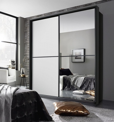 Rauch Essensa 2 Door Sliding Wardrobe in Metallic Grey and White - W 226cm