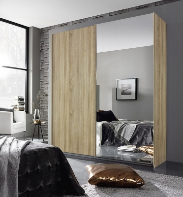 Rauch Essensa 2 Door Sliding Wardrobe in Oak - W 181cm