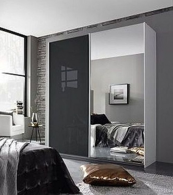 Rauch Essensa 2 Door Sliding Wardrobe in White and Basalt Glass - W 181cm