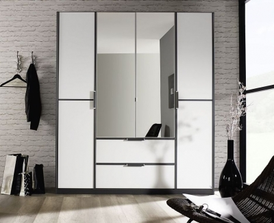 Rauch Essensa 4 Door Combi Wardrobe in Metallic Grey and White - W 181cm