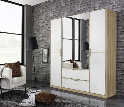 Rauch Essensa 4 Door Combi Wardrobe in Oak and White - W 181cm