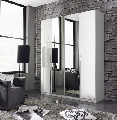 Rauch Essensa 4 Door Mirror Wardrobe in White - W 181cm
