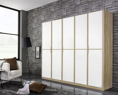 Rauch Essensa 5 Door Wardrobe in Oak and White - W 226cm