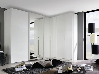 Rauch Essensa 6 Door L Shaped Wardrobe in White - W 417cm