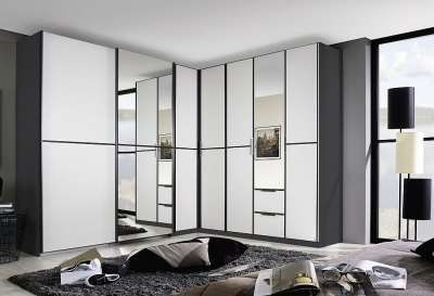 Rauch Essensa 7 Door Combi L Shaped Wardrobe in Metallic Grey and White - W 462cm