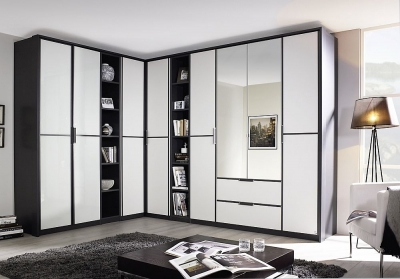 Rauch Essensa 8 Door Combi L Shaped Wardrobe in Metallic Grey and White - W 438cm