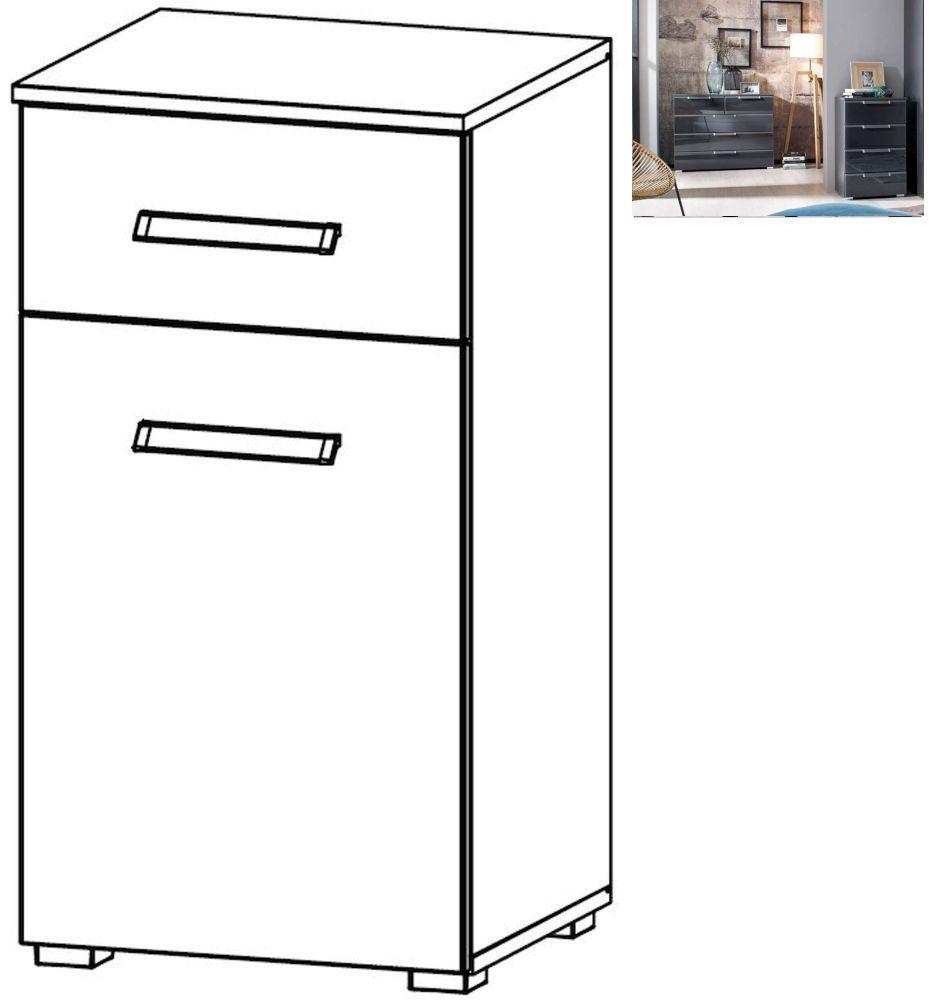 Rauch Essensa 1 Door 1 Drawer Glass Combi Chest in Metallic Grey and Basalt