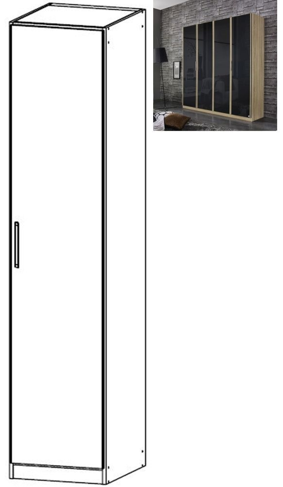 Rauch Essensa 1 Door Glass Wardrobe in Sonoma Oak and Basalt with Carcase Colour Short Handle and Trim - W 47cm