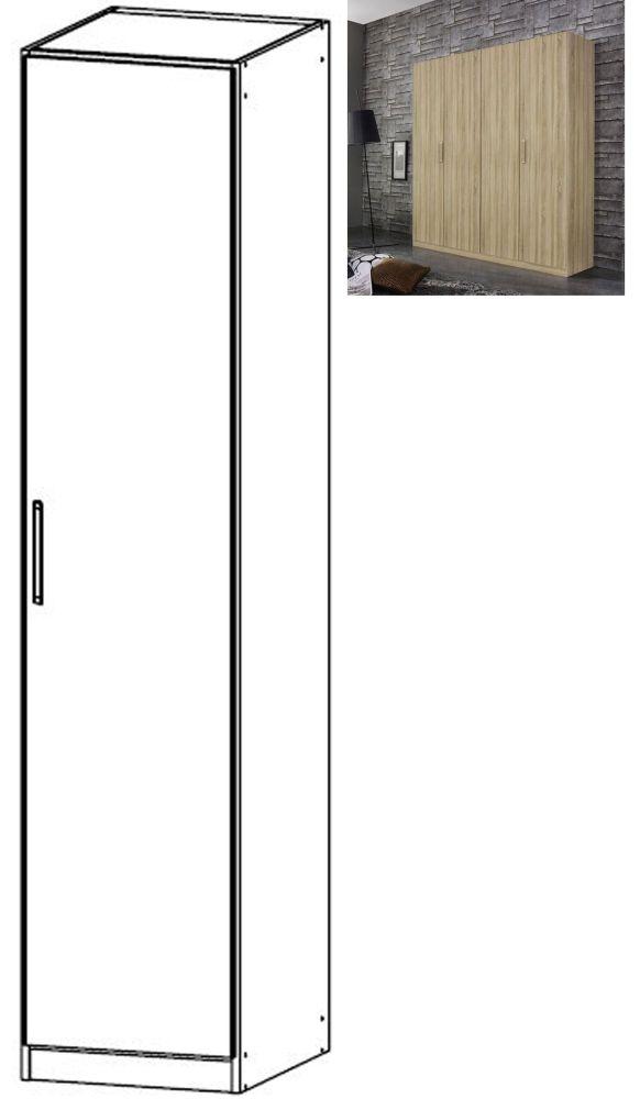 Rauch Essensa 1 Door Wardrobe in Sonoma Oak with Chrome Coloured Long Handle - W 47cm