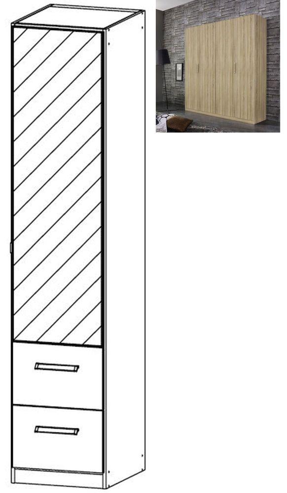 Rauch Essensa 1 Mirror Door 2 Drawer Combi Wardrobe in Sonoma Oak with Chrome Coloured Long Handle - W 47cm