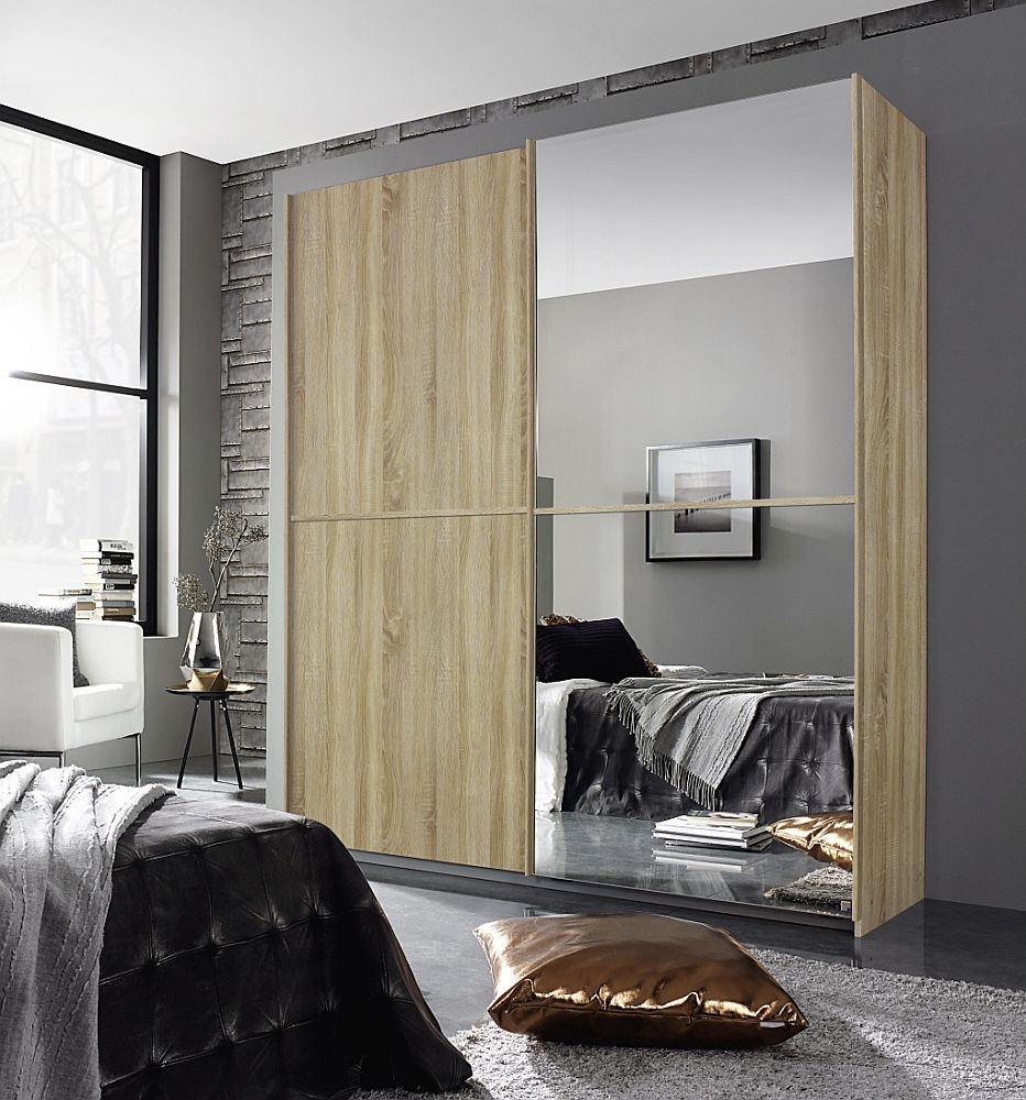 Rauch Essensa 2 Door Mirror Sliding Wardrobe in Oak - W 181cm