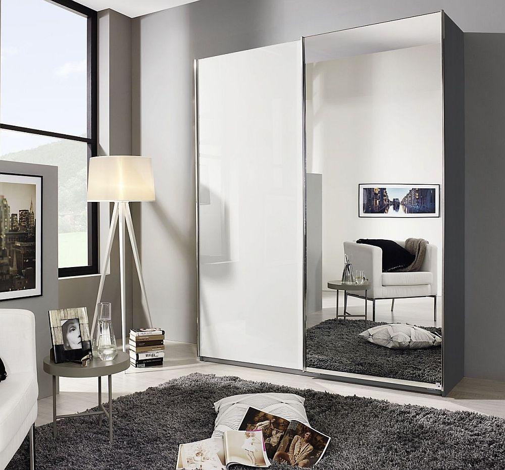 Rauch Essensa 2 Door Sliding Wardrobe in Metallic Grey and High Gloss White - W 181cm