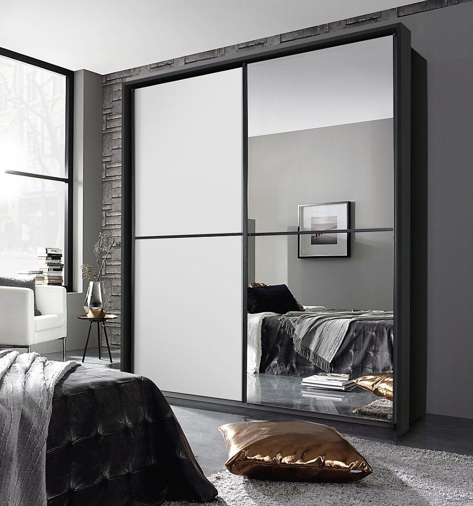 Rauch Essensa 2 Door Sliding Wardrobe in Metallic Grey and White - W 226cm
