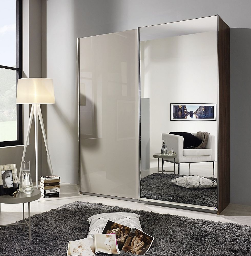 Rauch Essensa 2 Door Sliding Wardrobe in Stirling Oak and Fango Glass - W 226cm