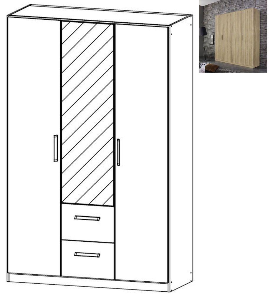 Rauch Essensa 3 Door 2 Drawer 1 Mirror Combi Wardrobe in Sonoma Oak with Chrome Coloured Long Handle - W 136cm