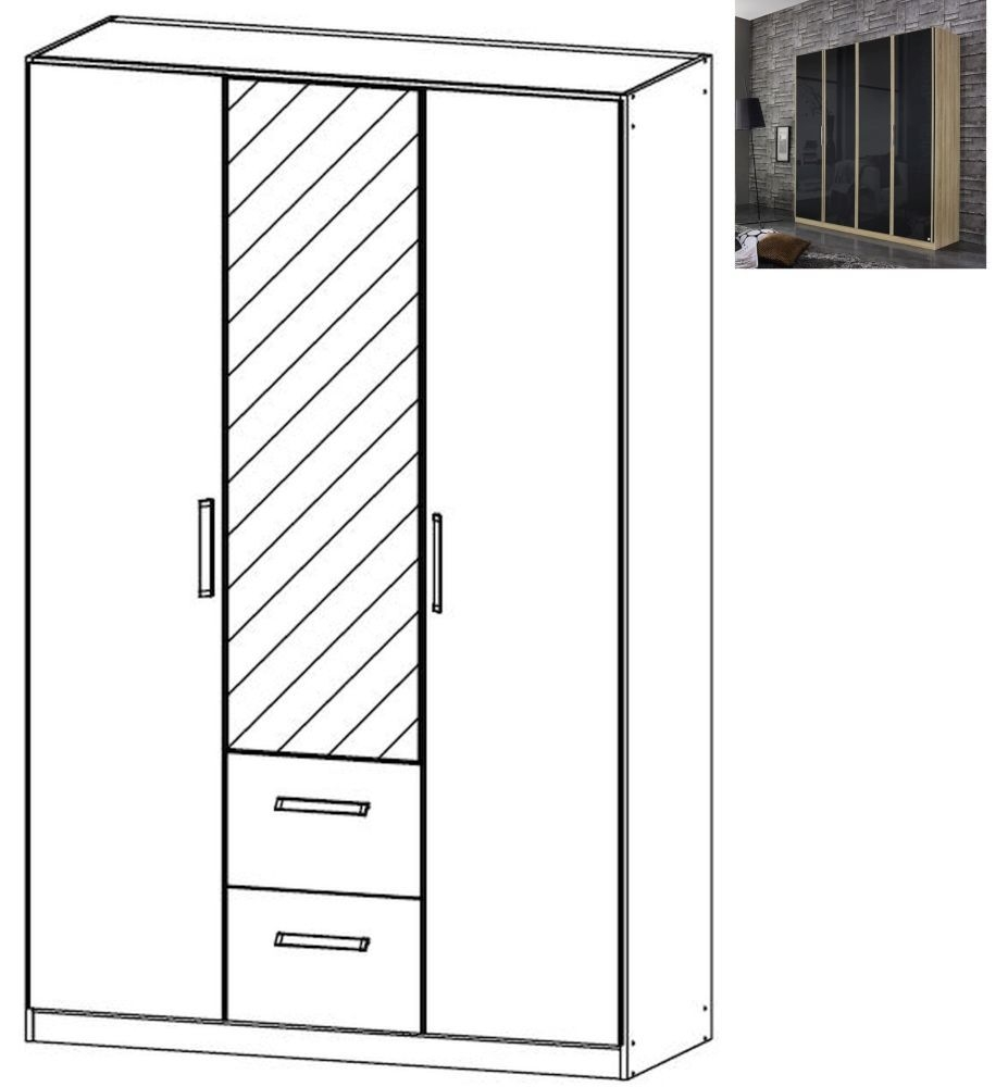 Rauch Essensa 3 Door 2 Drawer 1 Mirror Glass Combi Wardrobe in Sonoma Oak and Basalt with Carcase Colour Short Handle and Trim - W 136cm