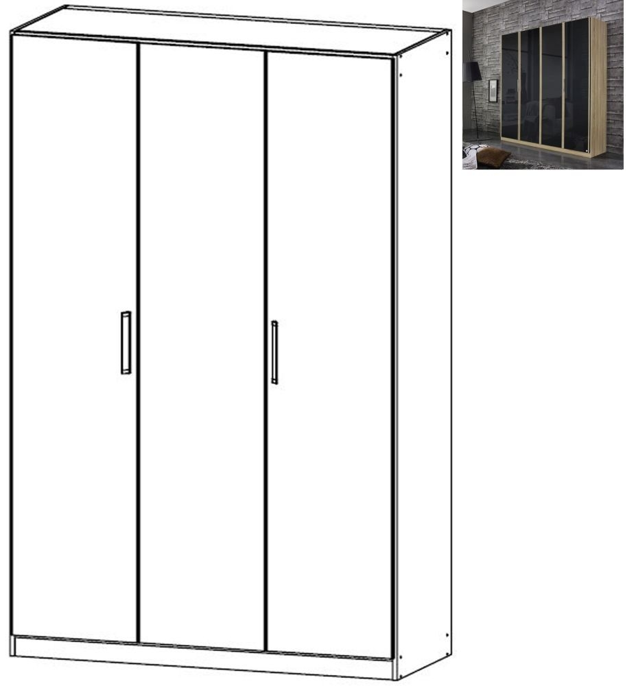 Rauch Essensa 3 Door Glass Wardrobe in Sonoma Oak and Basalt with Carcase Colour Short Handle and Trim - W 136cm