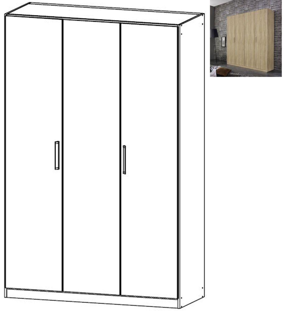 Rauch Essensa 3 Door Wardrobe in Sonoma Oak with Chrome Coloured Long Handle - W 136cm