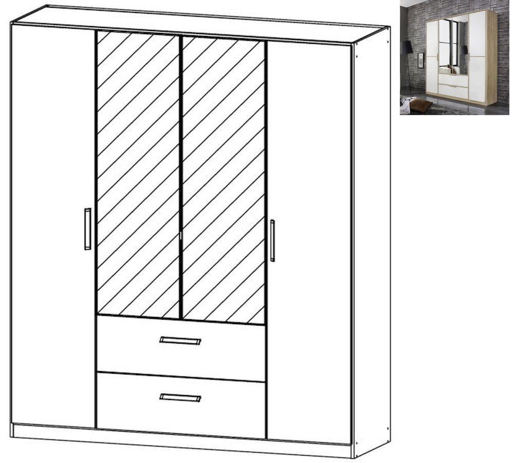 Rauch Essensa 4 Door 2 Drawer 2 Mirror Combi Wardrobe in Sonoma Oak and Alpine White with Carcase Colour Short Handle and Trim - W 181cm