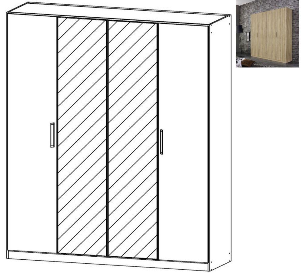 Rauch Essensa 4 Door 2 Mirror Wardrobe in Sonoma Oak with Chrome Coloured Long Handle - W 181cm