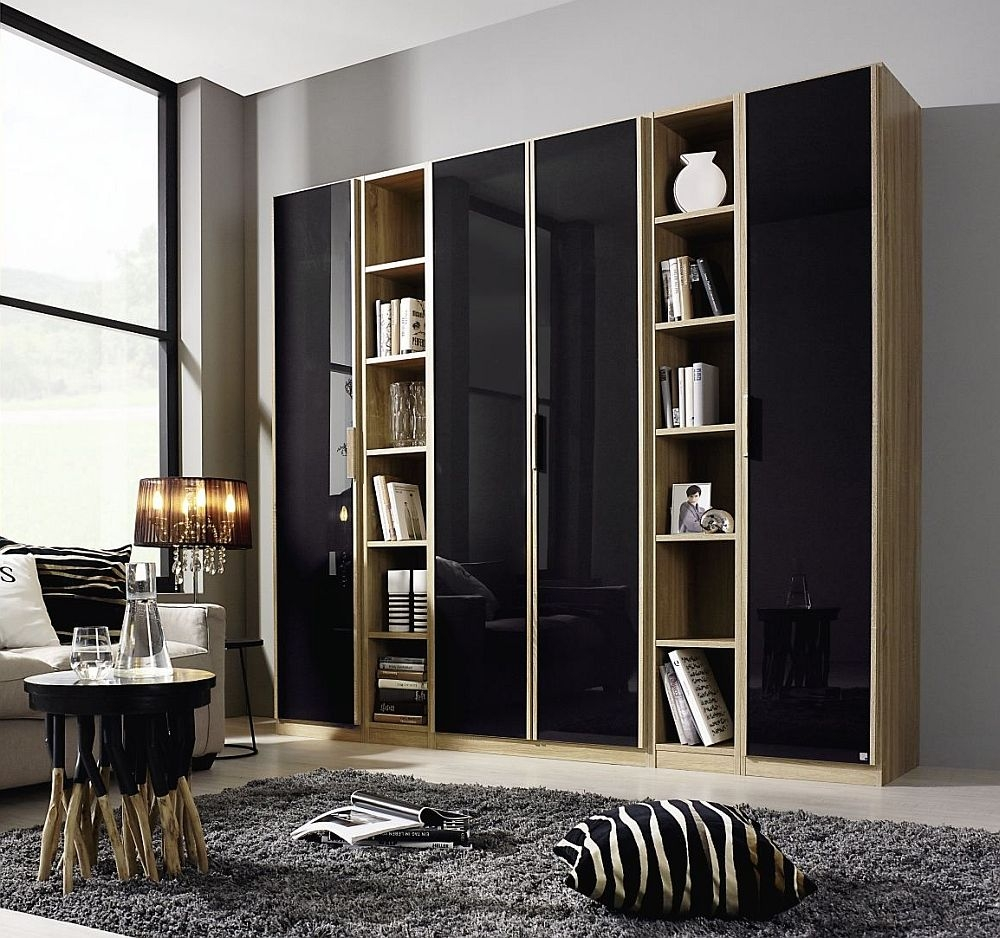 Rauch Essensa 4 Door L Shaped Wardrobe in Oak and Basalt Glass - W 251cm