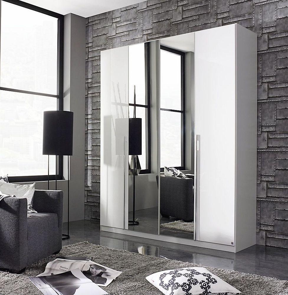 Rauch Essensa 4 Door Mirror Wardrobe in White - W 181cm