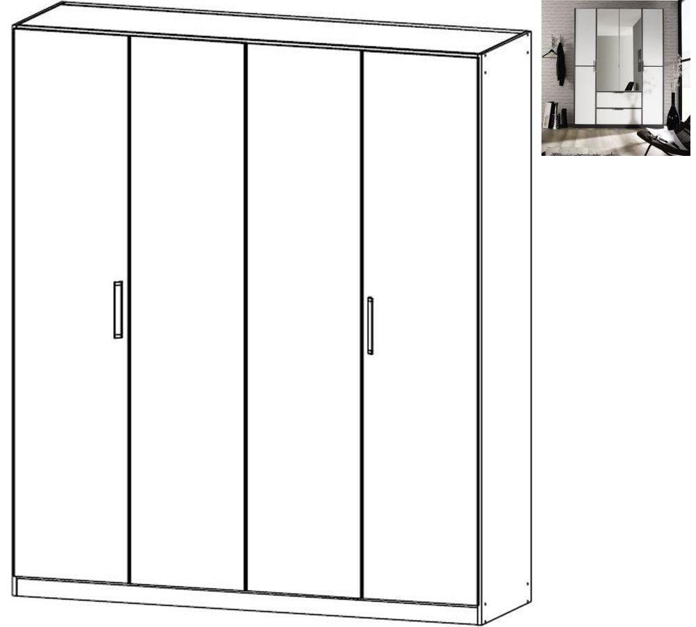 Rauch Essensa 4 Door Wardrobe in Metallic Grey and Alpine White with Carcase Colour Short Handle and Trim - W 181cm