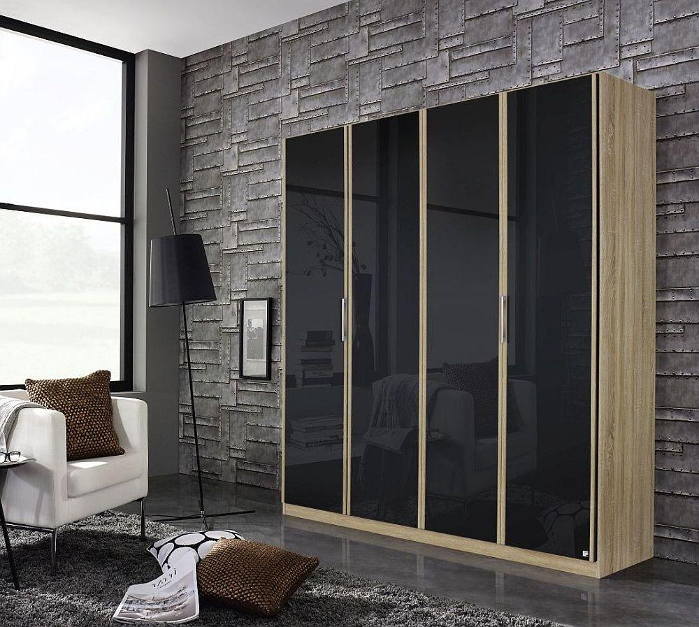 Rauch Essensa 4 Door Wardrobe in Oak and Basalt Glass - W 181cm