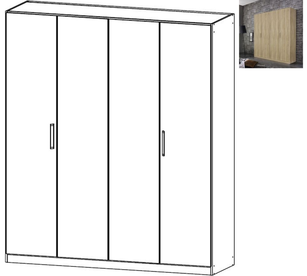Rauch Essensa 4 Door Wardrobe in Sonoma Oak with Chrome Coloured Long Handle - W 181cm