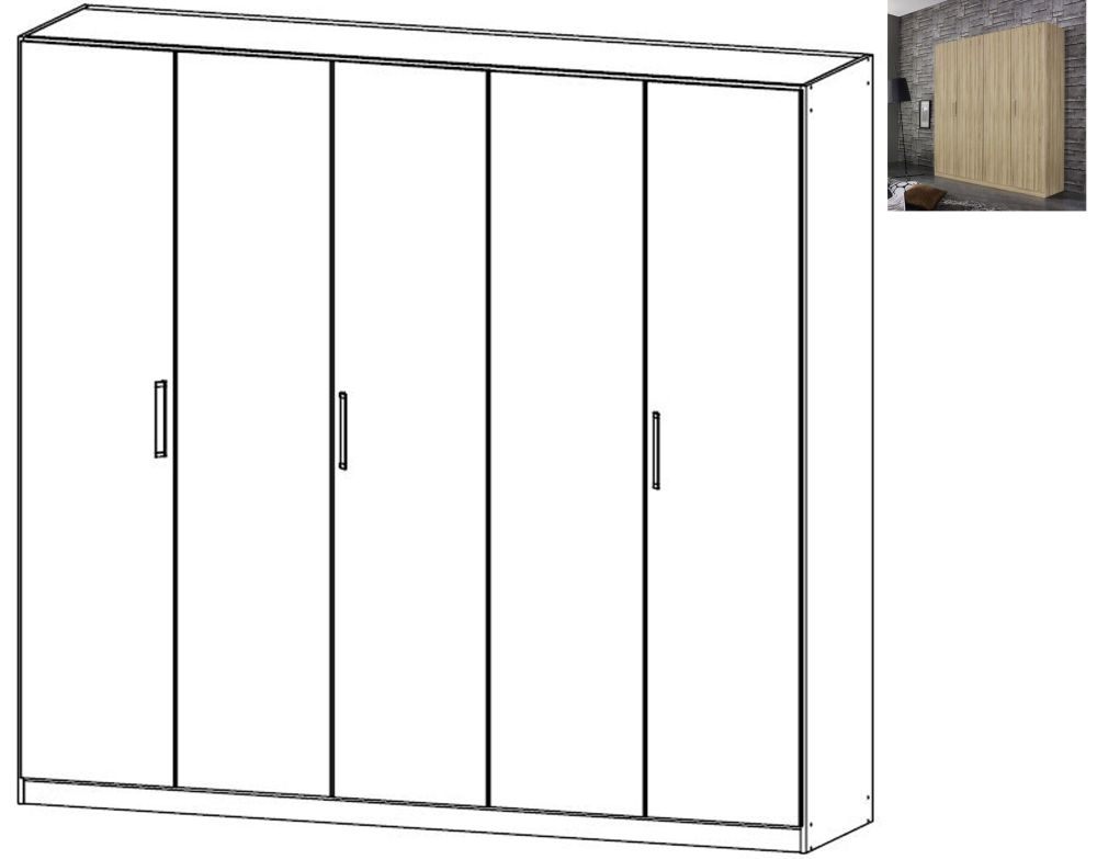 Rauch Essensa 5 Door Wardrobe in Sonoma Oak with Chrome Coloured Long Handle - W 226cm