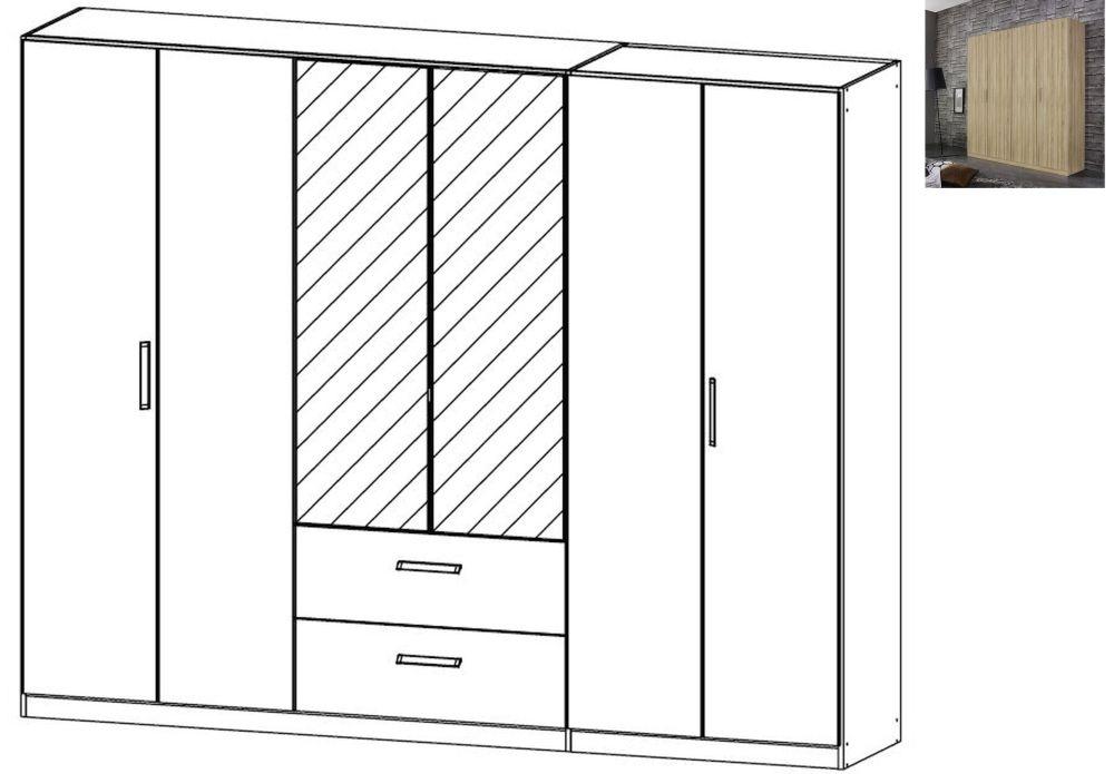 Rauch Essensa 6 Door 2 Drawer 2 Mirror Combi Wardrobe in Sonoma Oak with Chrome Coloured Long Handle - W 271cm