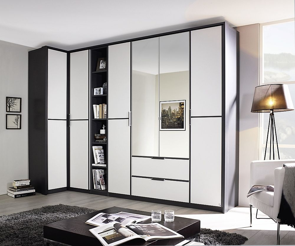 Rauch Essensa 6 Door Combi L Shaped Wardrobe in Metallic Grey and White - W 314cm
