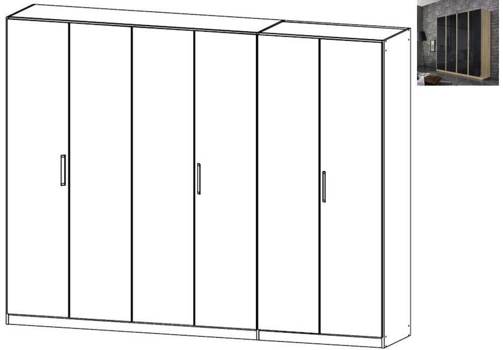 Rauch Essensa 6 Door Glass Wardrobe in Sonoma Oak and Basalt with Carcase Colour Short Handle and Trim - W 271cm