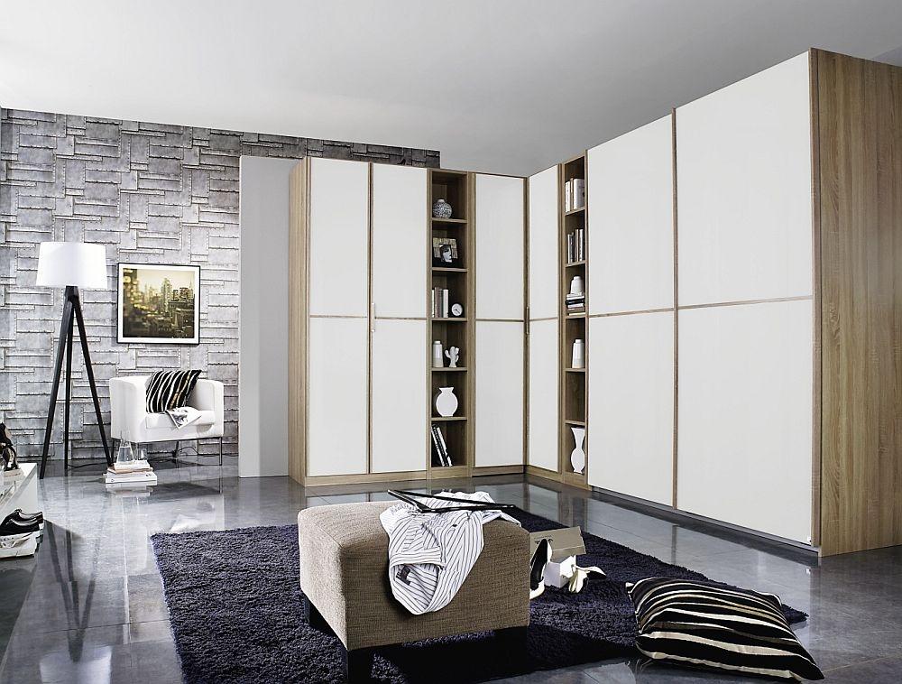 Rauch Essensa 6 Door L Shaped Wardrobe in Oak and White - W 483cm