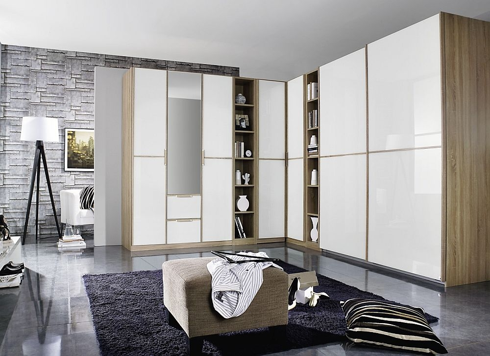 Rauch Essensa 7 Door Combi L Shaped Wardrobe in Oak and High Gloss White - W 528cm