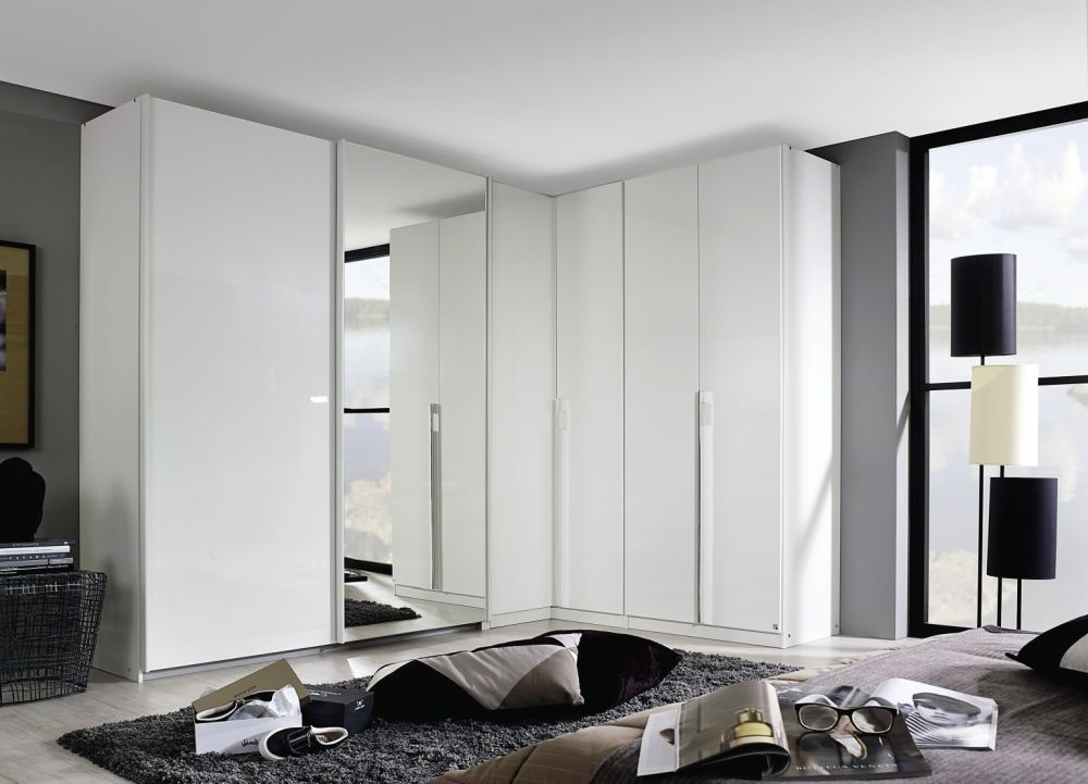 Rauch Essensa Alpine White with High Gloss White L Shaped Folding Wardrobe with Carcase Coloured Handle - W 417cm