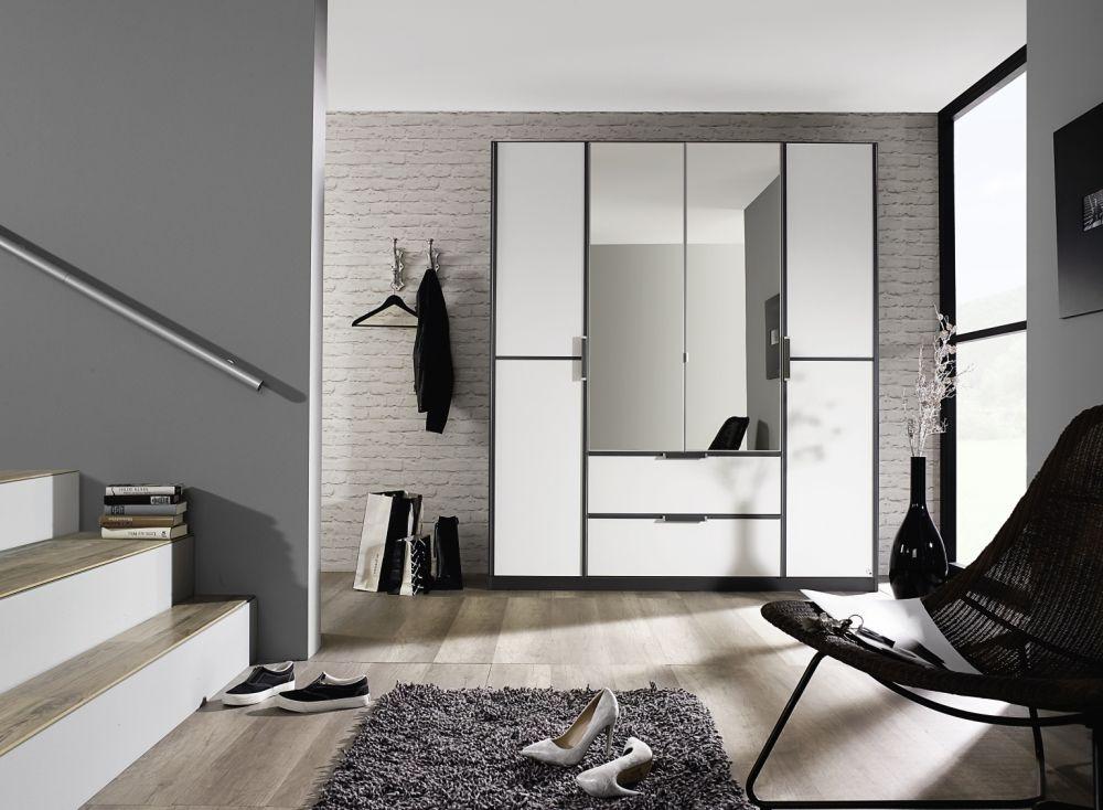 Rauch Essensa 2 Door Wardrobe in Metallic Grey and Alpine White with Carcase Colour Short Handle and Trim - W 91cm