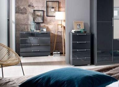 Rauch Essensa 3 Drawer Glass Bedside Cabinet in Metallic Grey and Basalt