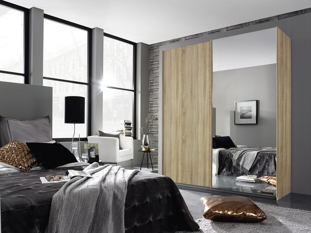 Rauch Essensa Sonoma Oak 3 Door 1 Mirror Sliding Wardrobe with Carcase Coloured Handle - W 271cm