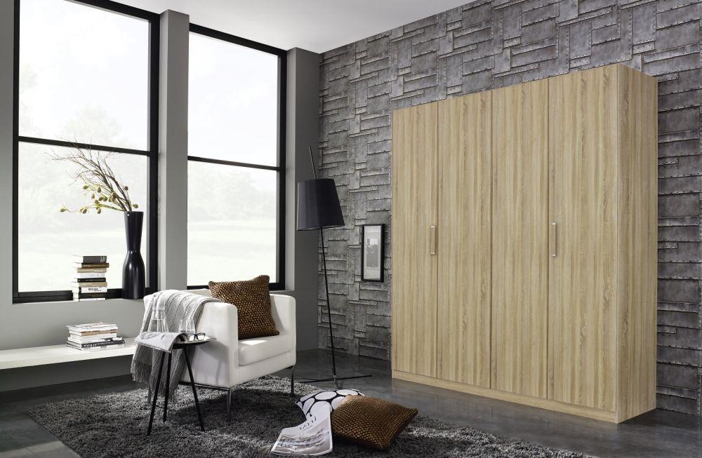Rauch Essensa 3 Door 1 Mirror Wardrobe in Sonoma Oak with Chrome Coloured Long Handle - W 136cm