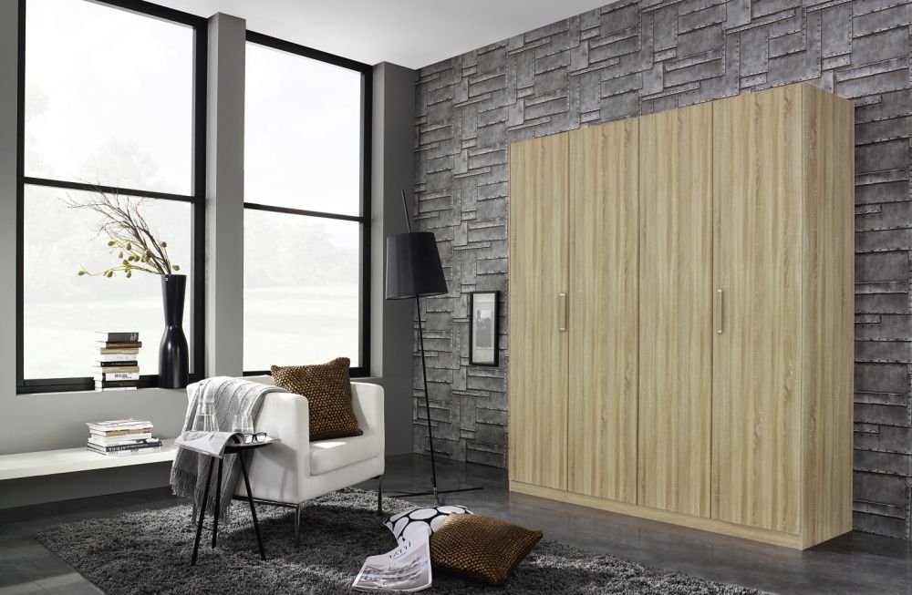 Rauch Essensa 5 Door Wardrobe in Sonoma Oak with Chrome Coloured Long Handle - W 226cm