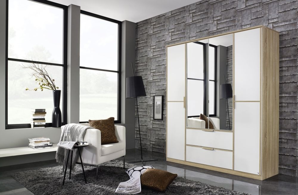 Rauch Essensa Sonoma Oak with Alpine White 3 Door 2 Drawer Wardrobe with 1 Mirror Chrome Coloured Long Handle with Vertical and Horizontal Trims - W 136cm
