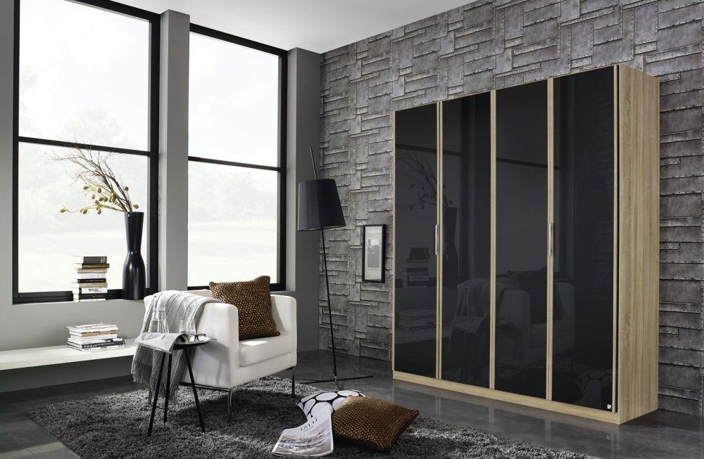 Rauch Essensa 4 Door Glass 2 Mirror Wardrobe in Sonoma Oak and Basalt with Carcase Colour Short Handle and Trim - W 181cm