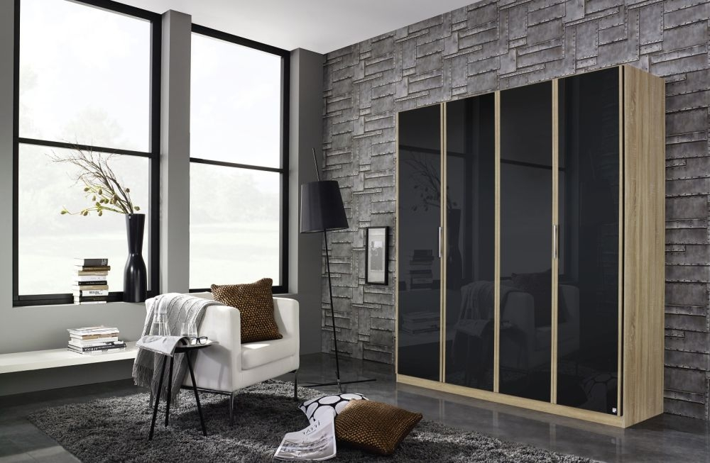 Rauch Essensa Sonoma Oak with Basalt Glass 4 Door Wardrobe with Carcase Coloured Short Handle with Vertical Trims - W 181cm