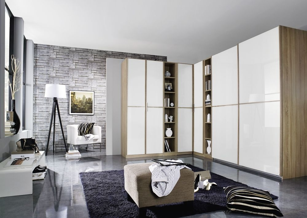 Rauch Essensa Sonoma Oak with White Glass L Shaped Folding Wardrobe with Vertical and Horizontal Trims and Chrome Coloured Handle - W 438cm